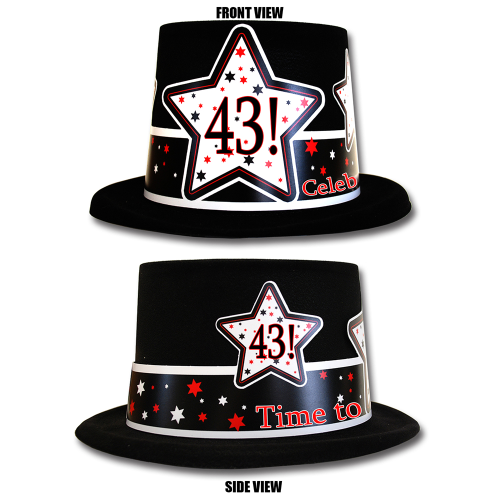 Click for larger picture of 43RD BIRTHDAY TIME TO CELEBRATE TOP HAT PARTY SUPPLIES
