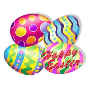 Click for larger picture of EASTER EGG C/O PRINTED DECORATION 4/PKG PARTY SUPPLIES