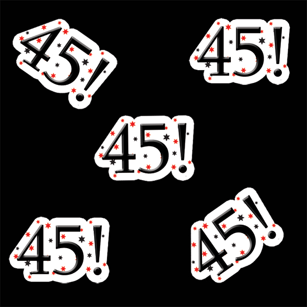 45! BIRTHDAY DECO FETTI PARTY SUPPLIES