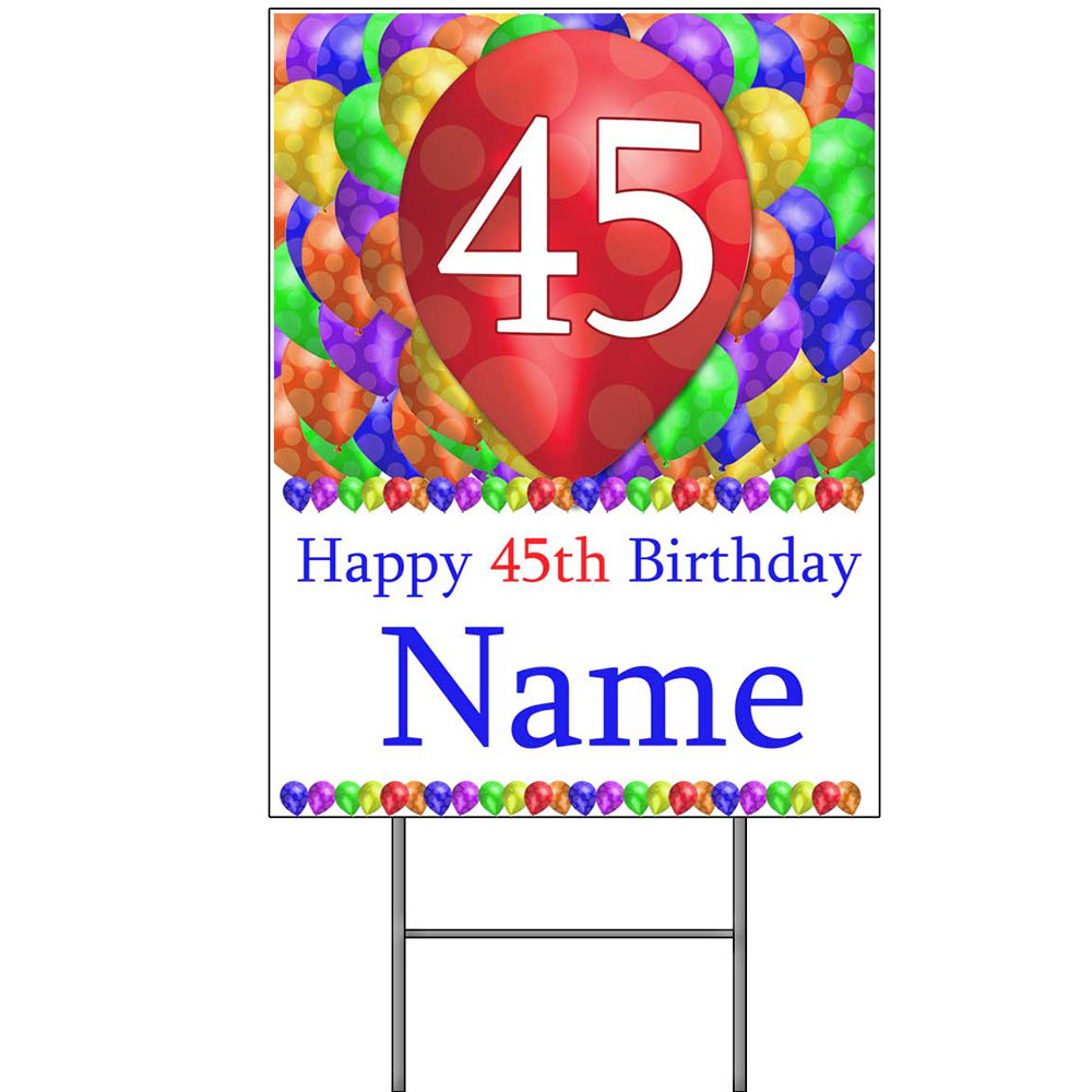 Click For Larger Picture Of 45TH CUSTOMIZED BALLOON BLAST YARD SIGN PARTY SUPPLIES
