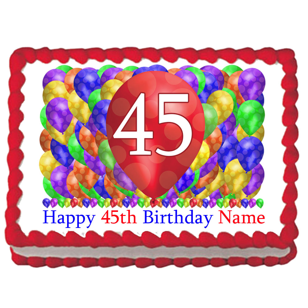 Click For Larger Picture Of 45TH BIRTHDAY BALLOON BLAST EDIBLE IMAGE PARTY SUPPLIES