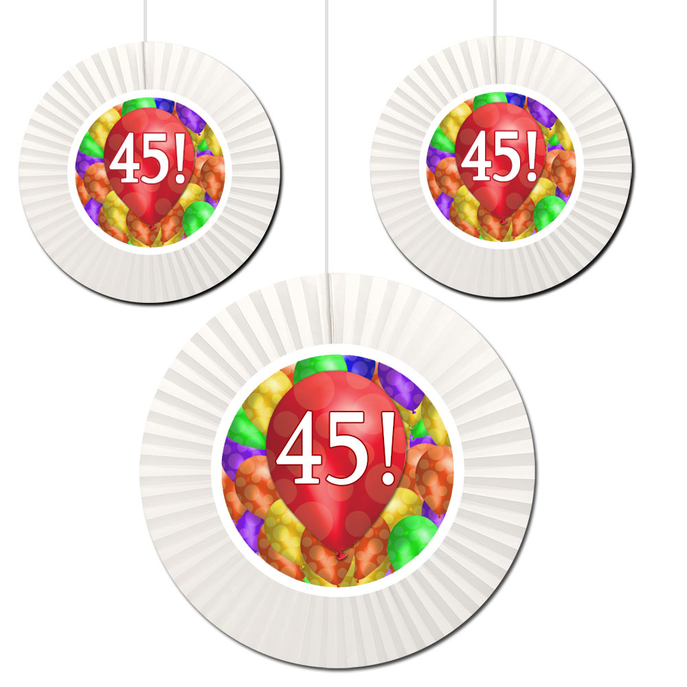 Click For Larger Picture Of 45TH BIRTHDAY BALLOON BLAST FAN DECORATI PARTY SUPPLIES