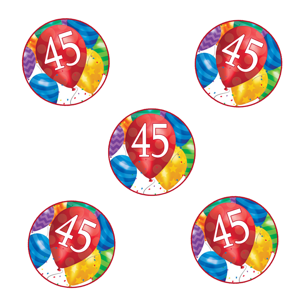 Click For Larger Picture Of 45TH BIRTHDAY BALLOON BLAST STICKER PARTY SUPPLIES