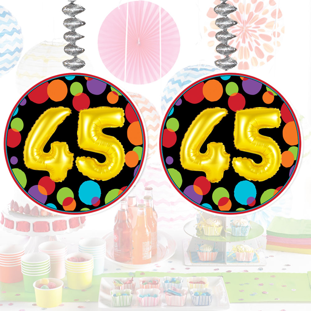 Click For Larger Picture Of 45TH BIRTHDAY BALLOON DANGLER PARTY SUPPLIES