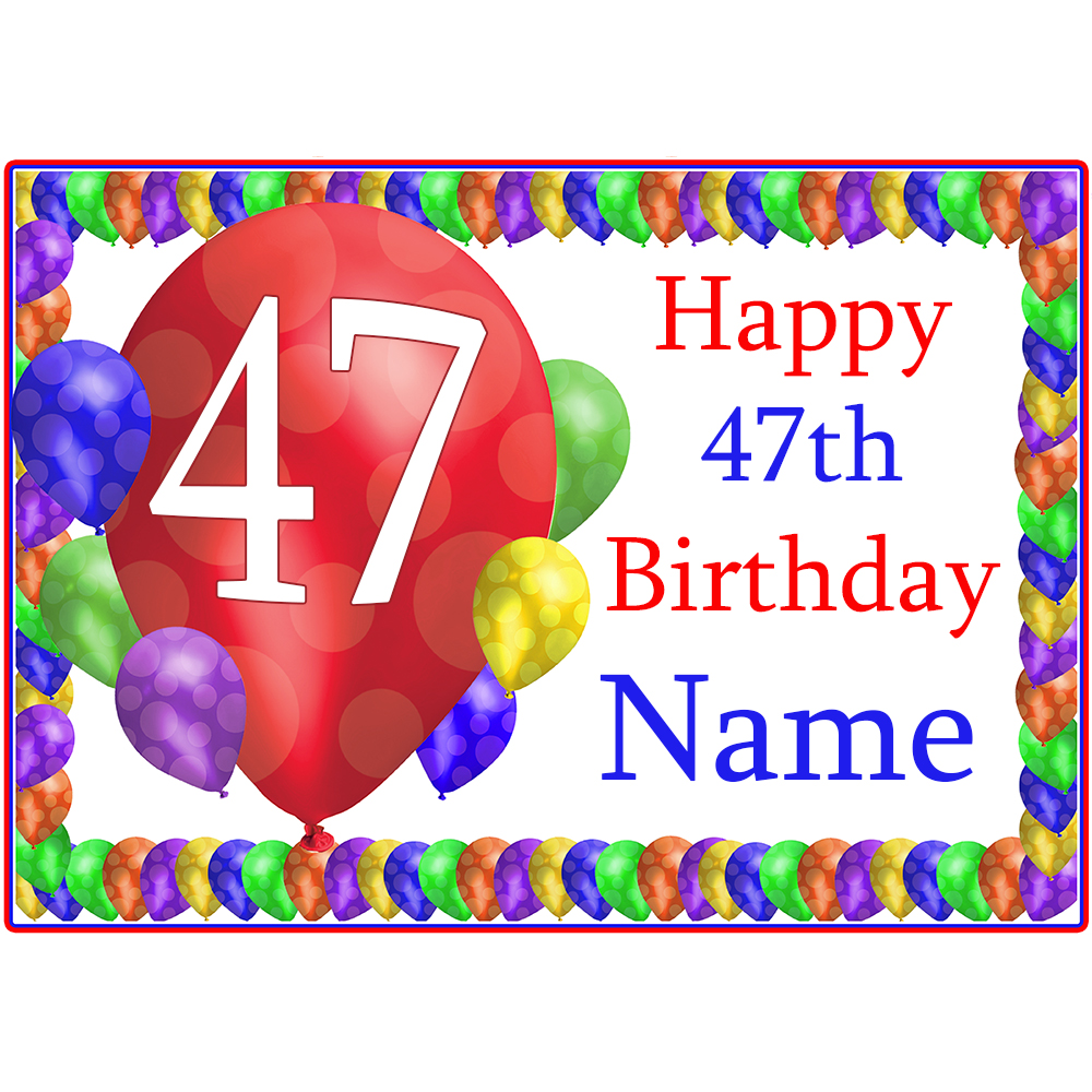 Click for larger picture of 47TH BALLOON BLAST CUSTOMIZED PLACEMAT PARTY SUPPLIES