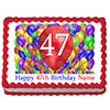 47TH BIRTHDAY BALLOON BLAST EDIBLE IMAGE PARTY SUPPLIES