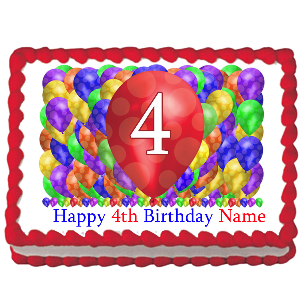Click For Larger Picture Of 4TH BIRTHDAY BALLOON BLAST EDIBLE IMAGE PARTY SUPPLIES
