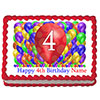 4TH BIRTHDAY BALLOON BLAST EDIBLE IMAGE PARTY SUPPLIES