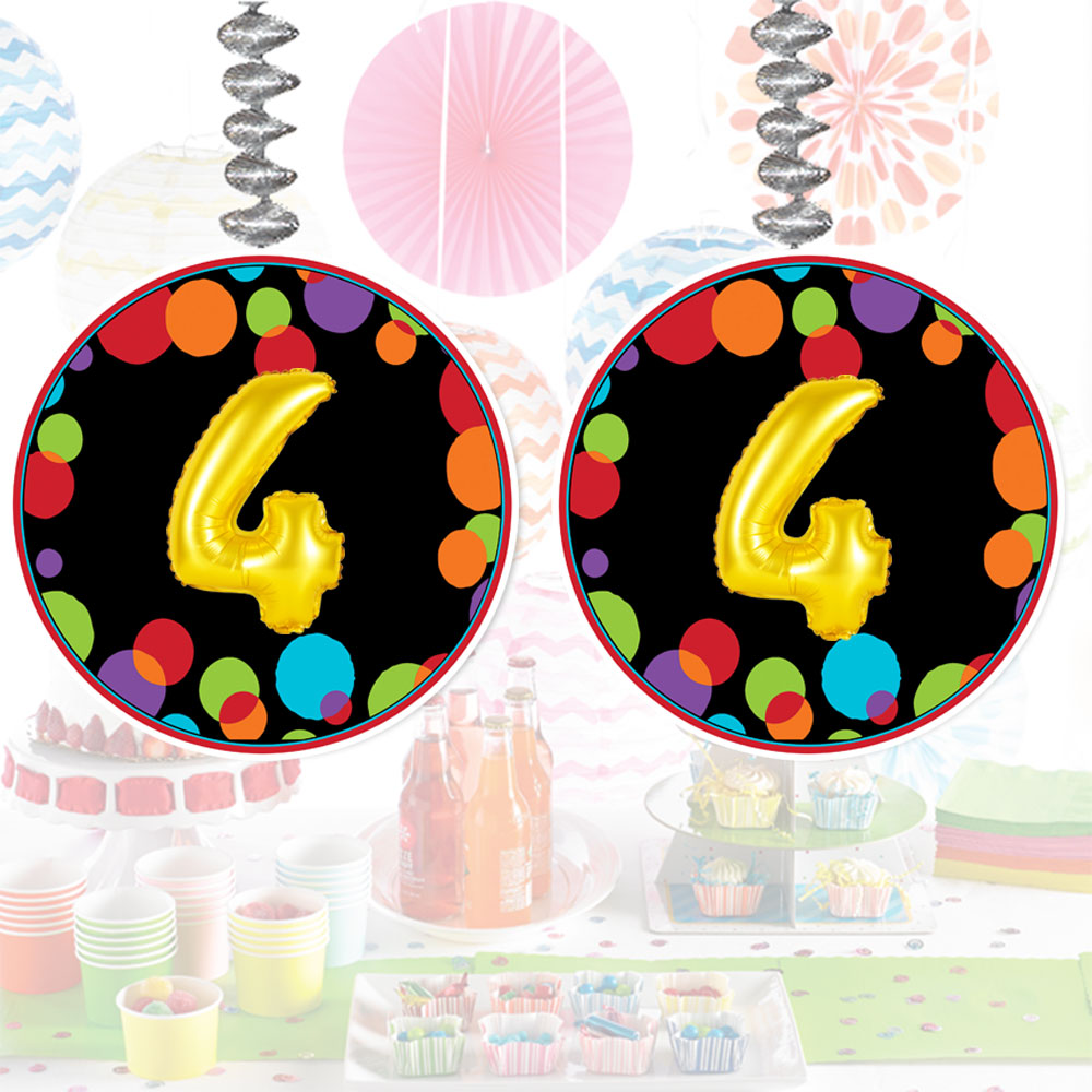 Click For Larger Picture Of 4TH BIRTHDAY BALLOON DANGLER PARTY SUPPLIES