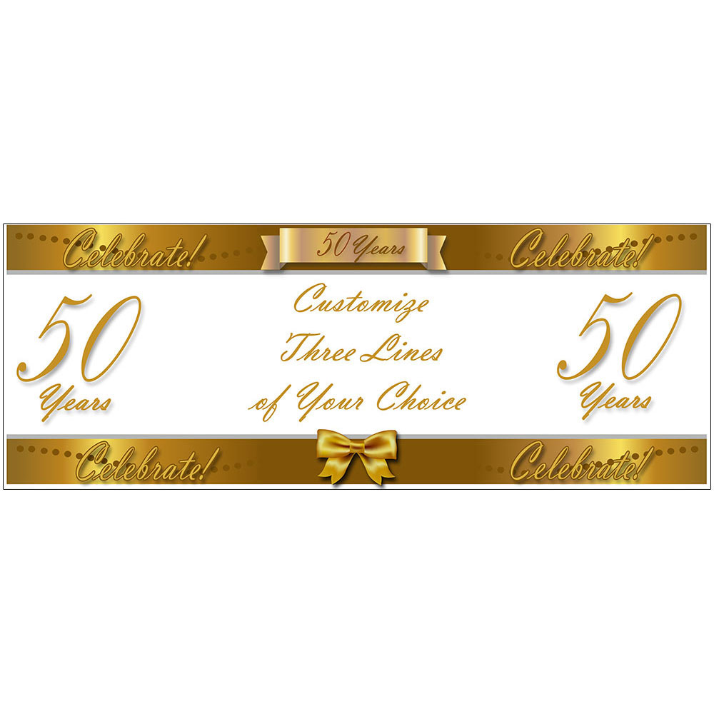 Click for larger picture of 50 YEARS CLASSY GOLD CUSTOM BANNER PARTY SUPPLIES
