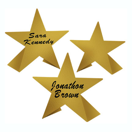 GOLD STAR PLACE CARDS (192/CASE) PARTY SUPPLIES