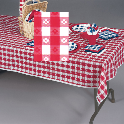 54X108IN. RED GINGHAM PLASTIC TABLECOVER PARTY SUPPLIES