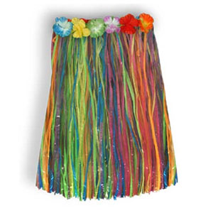CHILD HULA SKIRT WITH FLORAL WAISTBAND PARTY SUPPLIES
