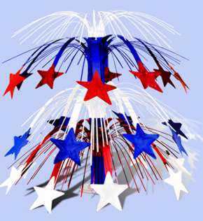Click for larger picture of RED WHITE & BLUE STAR CENTERPIECE PARTY SUPPLIES