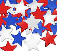 Click for larger picture of CONFETTI STARS RED/ SILVER/ BLUE (12/CS PARTY SUPPLIES