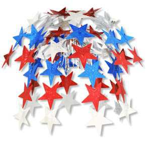 Click for larger picture of RED/ SILVER & BLUE STAR CASCADE (24IN.) PARTY SUPPLIES
