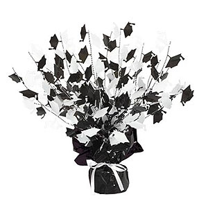 Click for larger picture of GRAD CAP GLEAM 'N BURST CNTRPC BLK/WHT PARTY SUPPLIES
