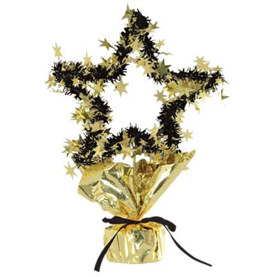 GOLD/BLA STAR GLEAM 'N SHAPE CENTERPIECE PARTY SUPPLIES