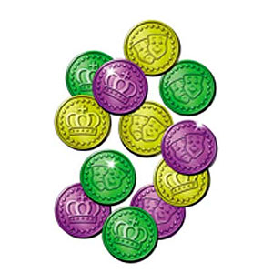MARDI GRAS PLASTIC COINS (1200/CASE) PARTY SUPPLIES