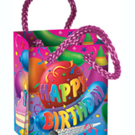 click for larger picture of bday mini gift bag balloon 48case party