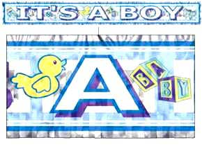 Click for larger picture of IT'S A BOY METALLIC FRINGED BANNER (5') PARTY SUPPLIES