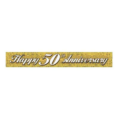 5OTH ANNIVERSARY METALLIC BANNER PARTY SUPPLIES