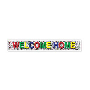 METALLIC WELCOME HOME BANNER PARTY SUPPLIES