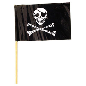 PLASTIC PIRATE FLAG 4IN.X6IN. (144/CASE) PARTY SUPPLIES