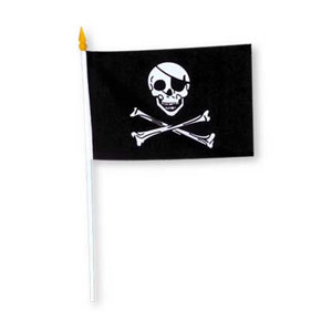 RAYON PIRATE FLAG 4IN.X6IN. (12/PKG) PARTY SUPPLIES