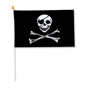 RAYON PIRATE FLAG 11IN.X18IN. (12/PKG) PARTY SUPPLIES