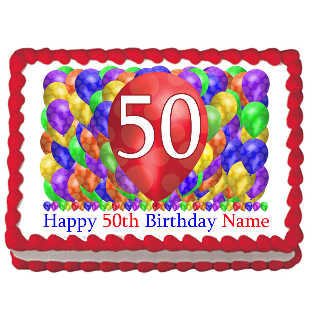 Click For Larger Picture Of 50TH BIRTHDAY BALLOON BLAST EDIBLE IMAGE PARTY SUPPLIES