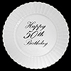 50TH CLASSY BLACK PLASTIC DINNER PLATE PARTY SUPPLIES