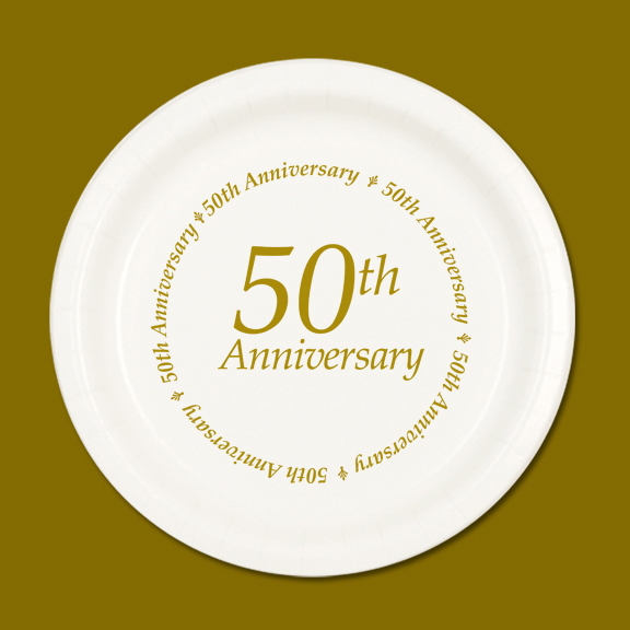 Click for larger picture of 50TH ANNIVERSARY DESSERT PLATE 8/PKG PARTY SUPPLIES & golden anniversary party supplies - 50th anniversary dessert plate 8pkg