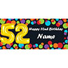 BALLOON 52ND BIRTHDAY CUSTOMIZED BANNER PARTY SUPPLIES