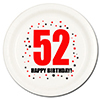 52ND BIRTHDAY DESSERT PLATE 8-PKG PARTY SUPPLIES