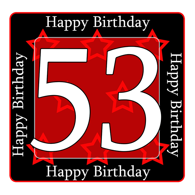 53 Happy Birthday Party Supplies 53rd Coaster