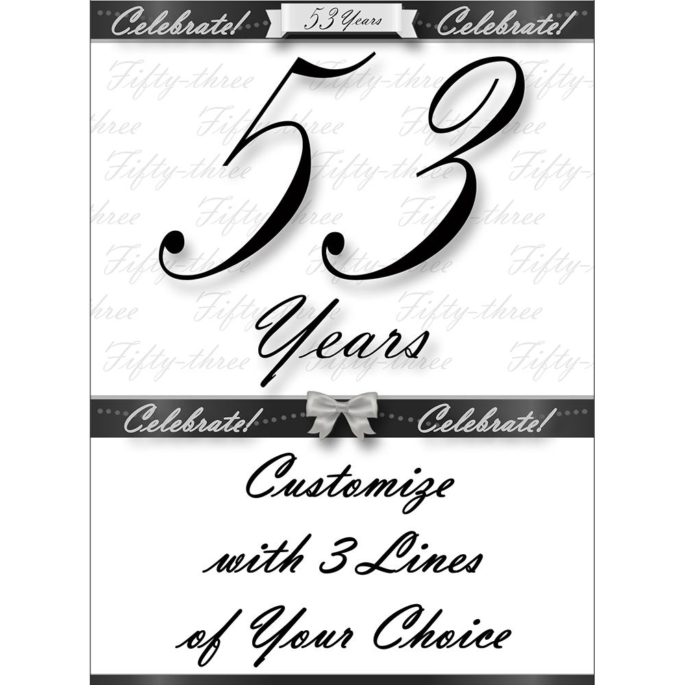 Click for larger picture of 53 YEARS CLASSY BLACK DOOR BANNER PARTY SUPPLIES