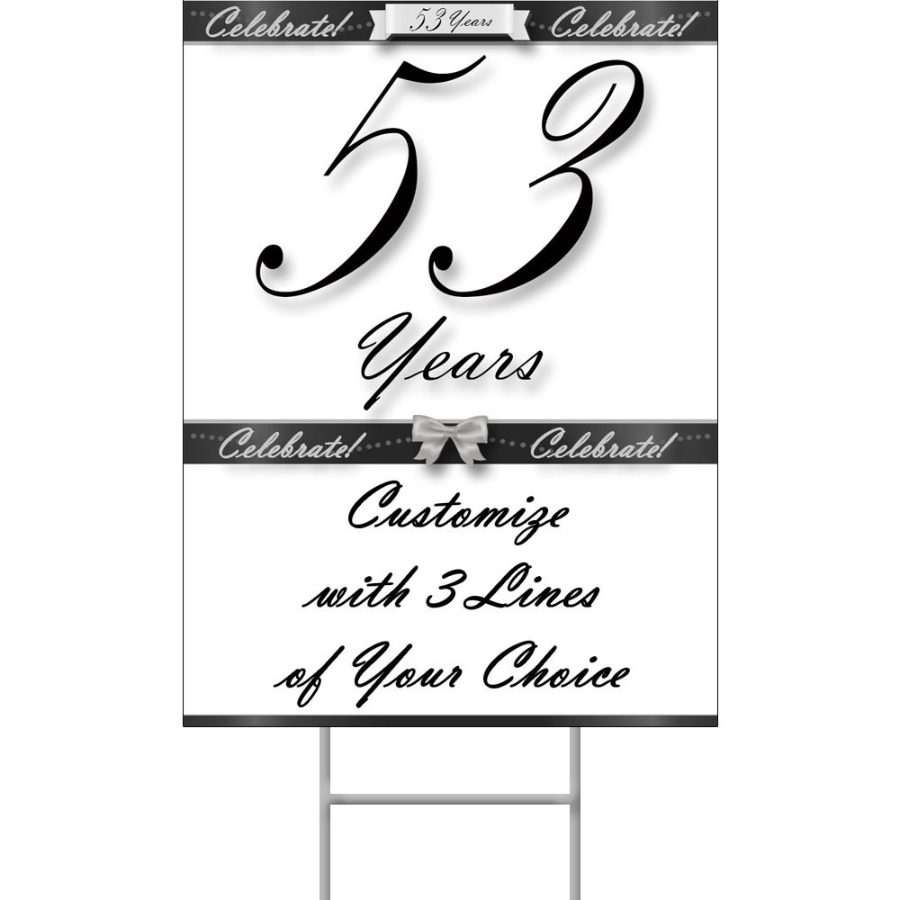 Click for larger picture of 53 YEARS CLASSY BLACK YARD SIGN PARTY SUPPLIES