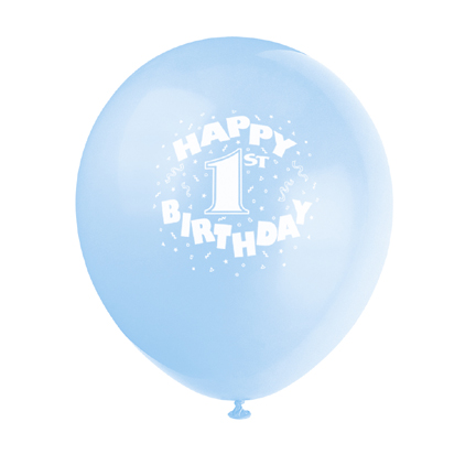 Click for larger picture of 1ST BIRTHDAY BLUE BALLOON PARTY SUPPLIES