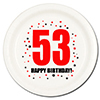 53RD BIRTHDAY DESSERT PLATE 8-PKG PARTY SUPPLIES