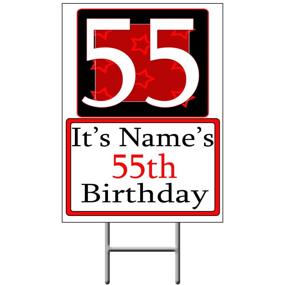 Click For Larger Picture Of PERSONALIZED 55 YEAR OLD YARD SIGN PARTY SUPPLIES