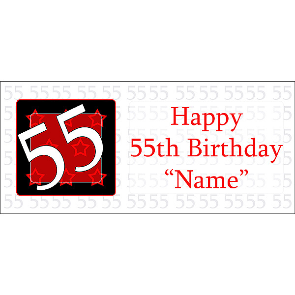Click For Larger Picture Of PERSONALIZED 55 YEAR OLD BANNER PARTY SUPPLIES