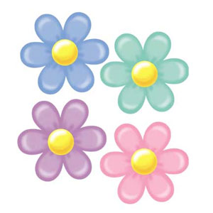 Click for larger picture of RETRO FLOWER CUTOUTS (24/CASE) PARTY SUPPLIES
