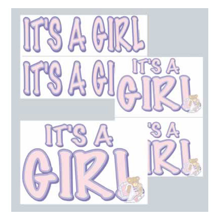 IT'S A GIRL AUTO CLINGER PARTY SUPPLIES