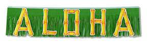 Click for larger picture of ALOHA FRINGED BANNER (10IN.X4') PARTY SUPPLIES