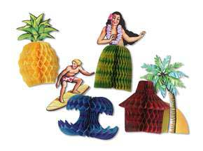 Click for larger picture of LUAU PLAYMATES 3IN.X4IN. (4/PKG) PARTY SUPPLIES