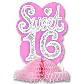 Click For Larger Picture Of SWEET SIXTEEN CENTERPIECE 9IN 1 PKG PARTY