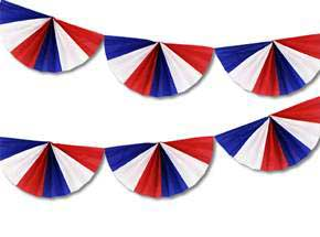 Click for larger picture of RED/ WHITE AND BLUE FAN GARLAND 9IN.X9' PARTY SUPPLIES