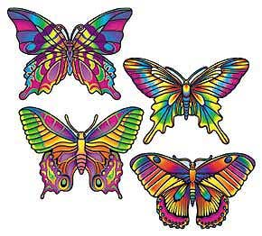 Click for larger picture of BUTTERFLY CUTOUT DECORATIONS (16IN.) PARTY SUPPLIES