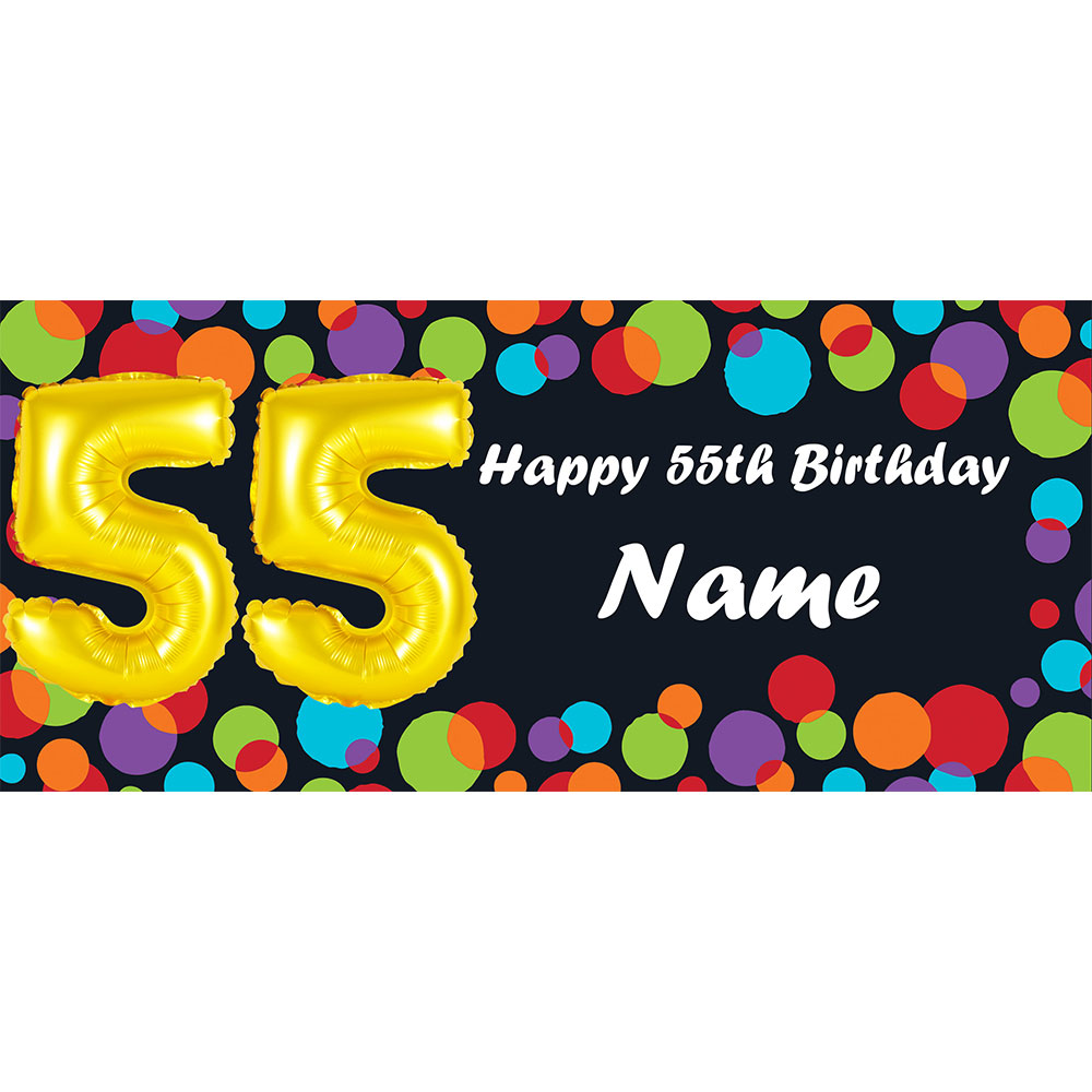 Click For Larger Picture Of BALLOON 55TH BIRTHDAY CUSTOMIZED BANNER PARTY SUPPLIES